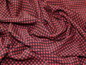 Italian Houndstooth Print 100% Silk Crepe Dress Fabric  Red & Black