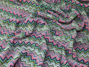 Italian Chevron Knit Cotton, Viscose & Silk Dress Fabric  Multicoloured