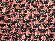 Italian Butterfly Print Crepe Dress Fabric  Orange