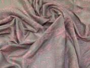 Silk Cotton Voile Fabric  Pink & Grey