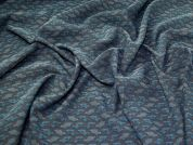 Stretch Jacquard Fabric  Teal