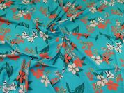 Viscose Challis Fabric  Turquoise & Coral