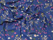 Floral Georgette Fabric  Deep Blue