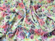Floral Print Stretch Poly Cotton Sateen Dress Fabric  Multicoloured
