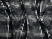 Plaid Check Stretch Suiting Dress Fabric  Grey