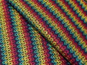 Felted Rainbow Stripe Jersey Knit Dress Fabric  Multicoloured