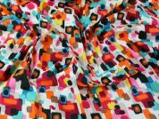Abstract Painting Print Stretch Cotton Sateen Dress Fabric  Multicoloured
