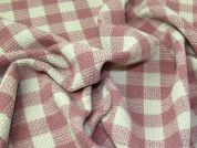 Check Wool Coating Fabric  Dusty Pink