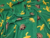 Monkey Print Anti Pill Polar Fleece Fabric  Green