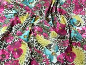 Floral Print Stretch Cotton Twill Dress Fabric  Multicoloured