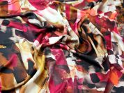 Abstract Print Royal Micro Satin Dress Fabric  Multicoloured