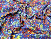 Colourful Paisley Print Stretch Needlecord Dress Fabric  Multicoloured