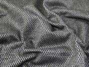 Fishnet Textured Felted Coat Weight Dress Fabric  Black & Silver Grey