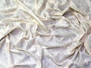 Glitter Floral Print Viscose Stretch Jersey Knit Dress Fabric  Silver & Ivory