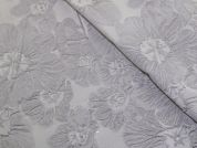 Floral Brocade Fabric  Grey