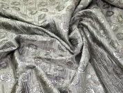 Textured Floral Brocade Fabric  Silver