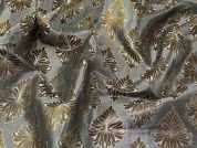 Metallic Brocade Fabric  Silver & Bronze