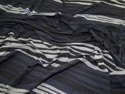 Textured Stripes Viscose Stretch Jersey Knit Dress Fabric  Black, Navy & Grey
