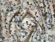 Floral Print Polyester Silky Satin Dress Fabric  Cream