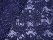 Scalloped Edge Corded Lace Dress Fabric  Navy Blue