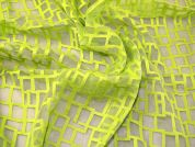 Embroidered Voile Fabric  Lime Green