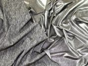 Metallic Coated Jersey Knit Fabric  Silver & Marl Grey