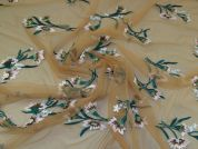 Embroidered Tulle Fabric  Jade on Sand