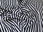 Stripe Print Polyester Crepe Dress Fabric  Navy Blue & White