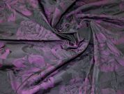 Woven Jacquard Floral Taffeta Dress Fabric  Black & Purple