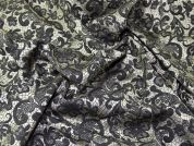 Floral Woven Brocade Dress Fabric  Black & Gold