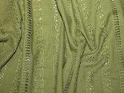 Cotton Eyelet Embroidered Dress Fabric  Jungle Green