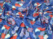 Textured Floral Suiting Fabric  Blue & Orange