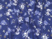 Floral Print Cotton Poplin Dress Fabric  Blue