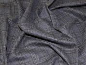 English Wool Blend Plaid Check Suiting Dress Fabric  Grey