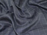 English Wool & Linen Herringbone Weave Suiting Dress Fabric  Navy Blue