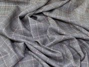 English Wool, Silk & Linen Plaid Weave Suiting Dress Fabric  Grey & Pink