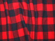 English Plaid Check Wool Coat Weight Dress Fabric  Red & Navy