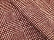 English 100% Wool Plaid Check Coat Weight Dress Fabric  Burgandy