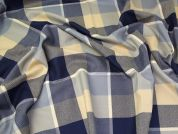 Pure Wool Suiting Fabric  Blue & Sand
