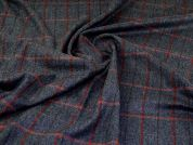 Wool Coating Fabric  Navy & Vermillion