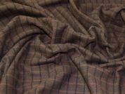 English 100% Wool Plaid Check Coat Weight Dress Fabric  Dark Brown