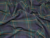 English 100% Wool Plaid Check Coat Weight Dress Fabric  Dark Green