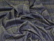 English Wool Plaid Check Suiting Dress Fabric  Navy Blue & Sage