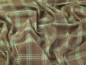 English 100% Wool Plaid Check Suiting Dress Fabric  Brown & Green