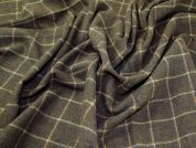 English 100% Wool Plaid Check Coat Weight Dress Fabric  Olive Green