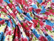 Floral Print Stretch Suiting Dress Fabric  Multicoloured