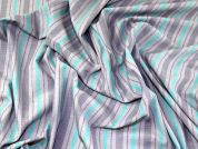 Woven Stripe Cotton Blend Shirting Dress Fabric  Grey & Turquoise