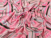Abstract Print Stretch Jersey Dress Fabric  Pink