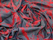 Abstract Velour Flock Print Denim Dress Fabric  Red on Blue