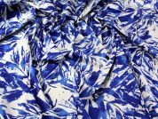 Leaves Print Stretch Satin Dress Fabric  Royal Blue